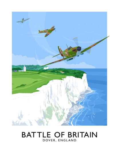 Vintage style travel poster art print of Supermarine Spitfires flying over the White Cliffs of Dover in the Battle of Britain WW2