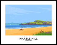 Vintage style travel poster art print of Marble Hill beach in County Donegal