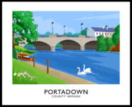 Vintage style poster art print of Portadown and the River Bann