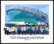 Vintage style travel poster art print of Spurs supporters arriving at the new Tottenham Hotspur Stadium