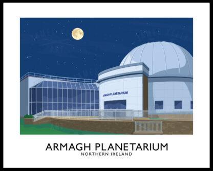 Vintage style poster art print of Armagh Planetarium