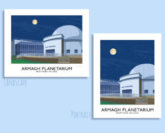 Vintage style travel poster art print of the Armagh Planetarium, Northern Ireland.