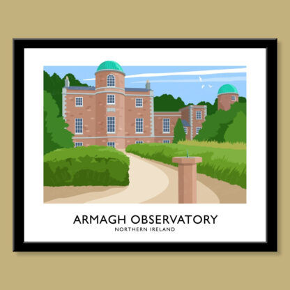 Vintage style poster art print of Armagh Observatory