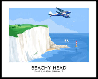 Vintage style travel poster art print of the white cliffs at Beachy Head in East Sussex, England.