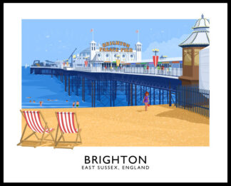 Vintage style travel poster art print of Brighton Pier in East Sussex, England.
