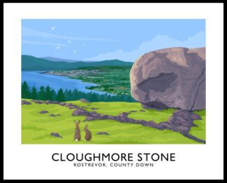 A vintage style art print of the Cloughmore Stone, Rostrevor, County Down.