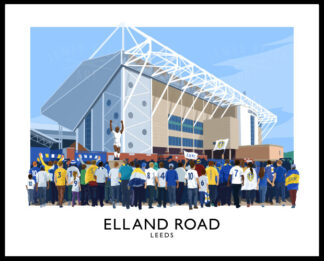 Vintage style travel poster art print of Leeds Utd supporters arriving at Elland Road stadium