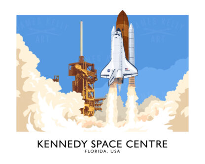 Vintage style poster art print of the Space Shuttle Atlantis launching at the Kennedy Space Centre, Florida