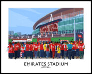Vintage style travel poster art print of Arsenal fans at the Emirates Stadium