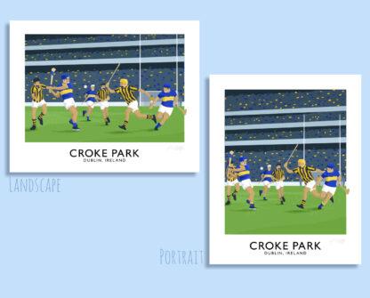 Vintage style travel poster art print of a GAA hurling match at Croke Park Stadium in Dublin.