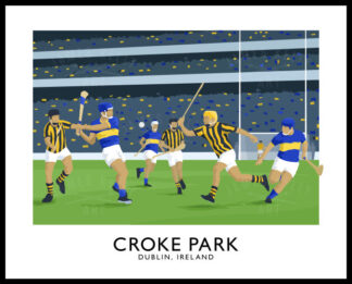 Vintage style travel poster art print of a GAA hurling match at Croke Park Stadium in Dublin.