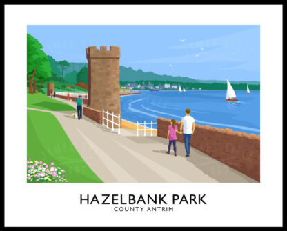 Vintage style travel poster art print of Hazelbank Park, County Antrim.