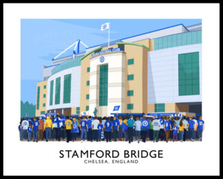 Vintage style travel poster art print of Chelsea football supporters arriving at Stamford Bridge stadium