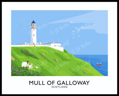 A vintage style poster art print of the Mull of Galloway lighthouse, Scotland.