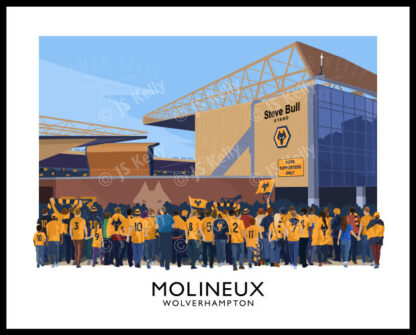 Vintage style travel poster art print of Wolverhampton Wanderers supporters arriving at Molineux stadium