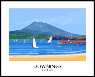 Vintage style travel poster art print of Downings beach in County Donegal
