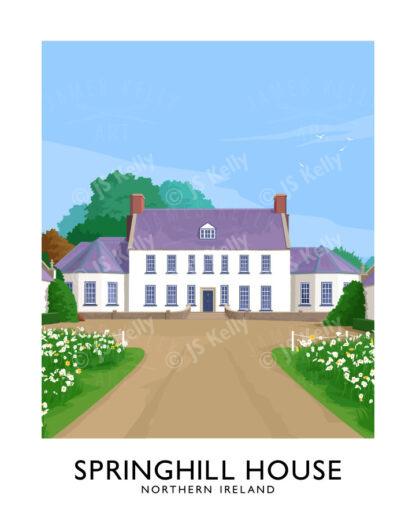 A vintage style art print of the 18th Century Springhill House in County Derry/Londonderry