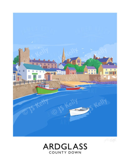 Vintage style travel poster art print of Ardglass Harbour, County Down.
