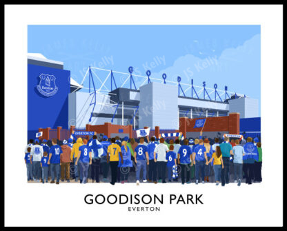 Vintage style travel poster art print of Everton FC supporters arriving at Goodison Park stadium.