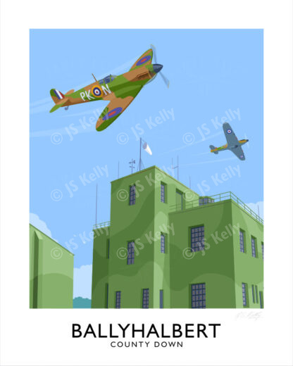 Vintage style travel poster art print of a Spitfire and Hurricane at Ballyhalbert airfield in WW2