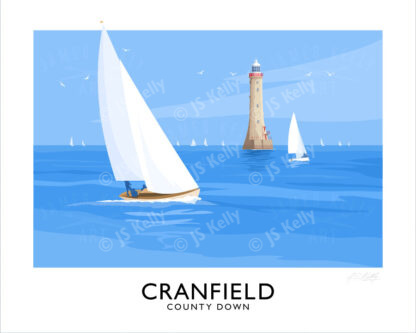 A vintage style travel poster art print of sailing yachts off Haulbowline Lighthouse at Cranfield, County Down.