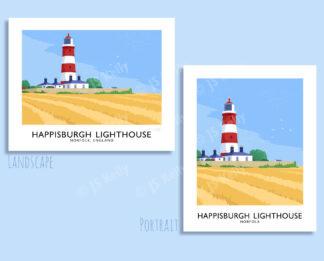 Vintage style travel poster art print of Happisburgh Lighthouse, Norfolk, England