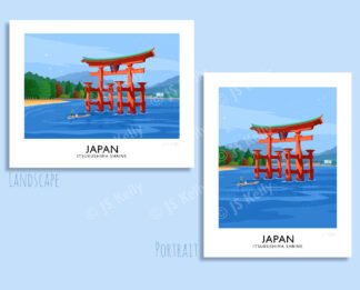 A vintage style travel poster art print of the Itsukushima Shrine, Japan