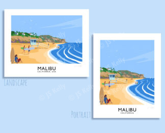 A vintage style travel poster art print of surfers at Malibu, USA.