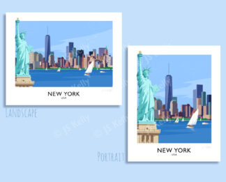 A vintage style travel poster art print of the New York Skyline andthe Empire State Building, USA.