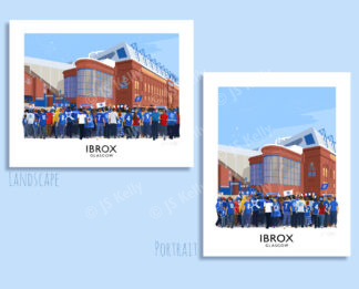 Vintage style poster art picture of Glasgow Rangers supporters arriving at Ibrox stadium
