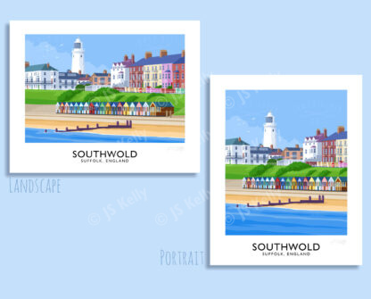 Vintage style travel poster art print of Southwold Lighthouse and beach huts, Sufffolk, England.
