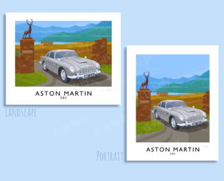 Vintage style travel poster art print of the iconic Aston Martin DB5 as used by James Bond 007